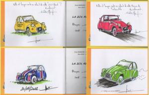 2CV reine de l'automobile - 4 exemples de Dédicaces